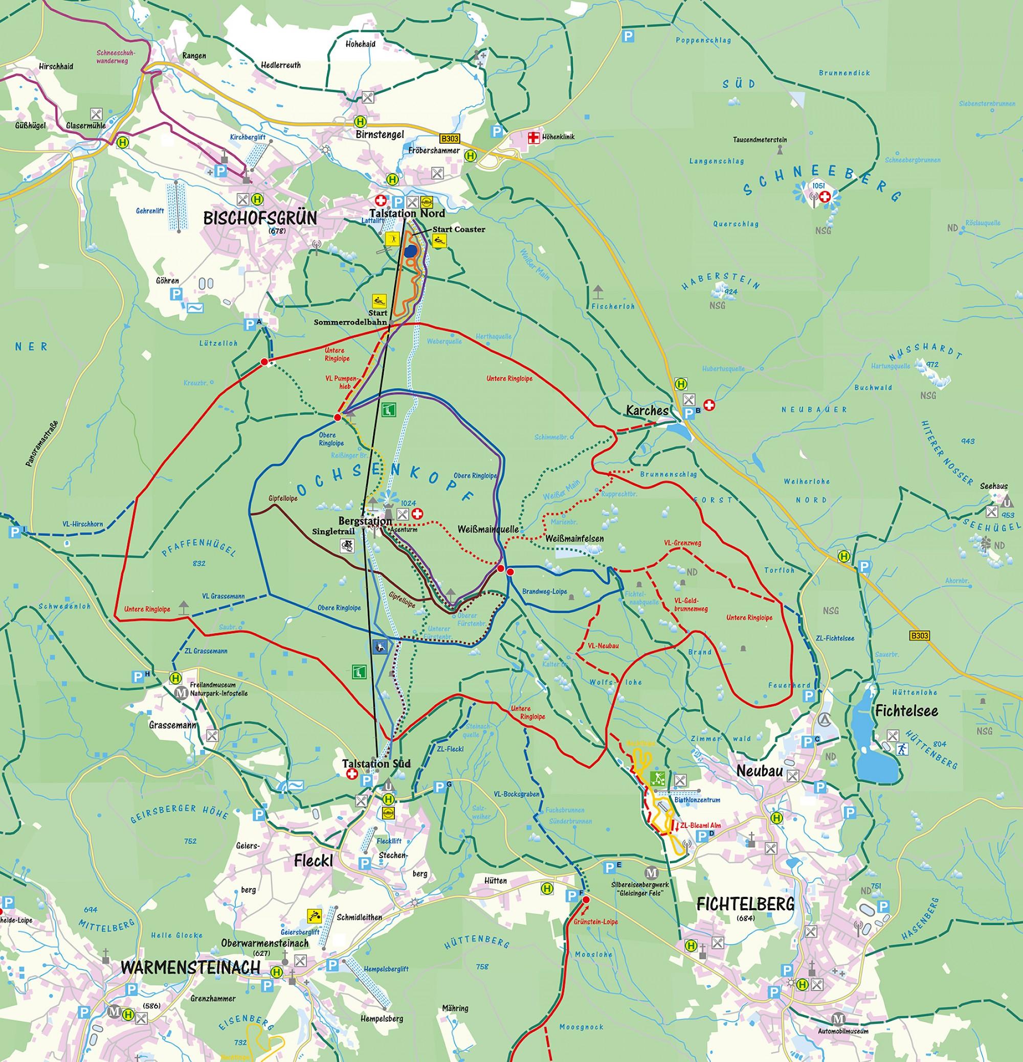 Seilbahnen Ochsenkopf - Sommer - Wanderwege - Klettern, Biken ...
